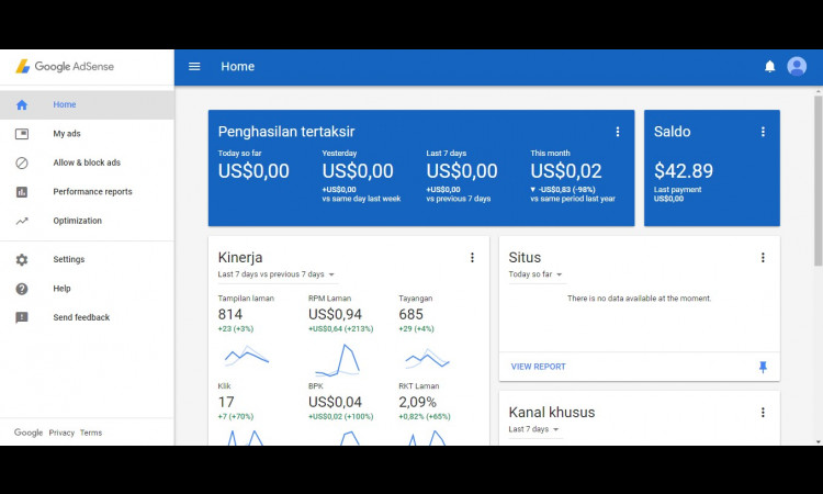 Jual Akun Adsense Non-Hosted 2014 Verified Pin Balance 42$