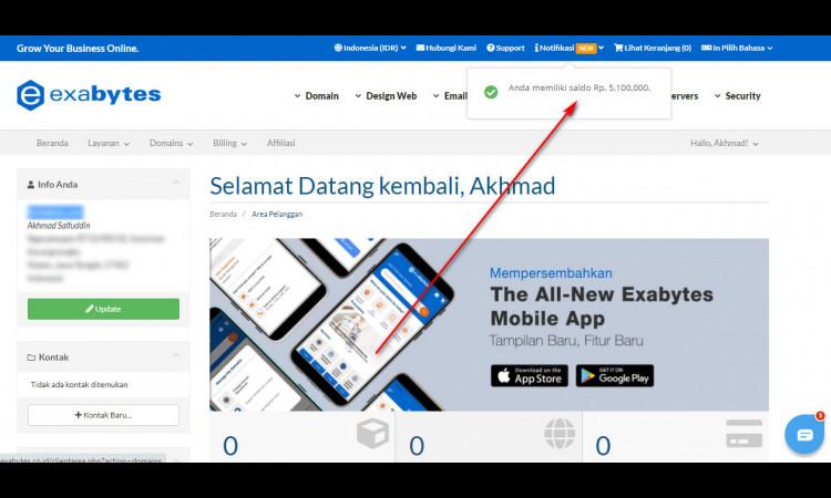 Akun Hosting Exabytes Saldo Rp 5.100.000